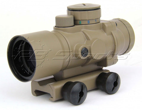 TACFIRE 3x30 Tri-Illuminated Ultra Compact Prism Scope - FDE - TACFIRE