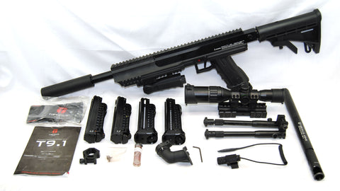 Used Tiberius Arms First Strike T9.1 Paintball Marker MagFed Gun Player Kit