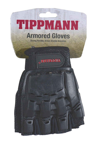Tippmann Half Finger Armored Gloves - Black Small