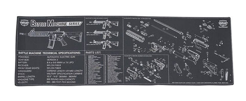 "Valken Battle Machine Diagram Neoprene Tech Mat 34""x11"" - Exalt"
