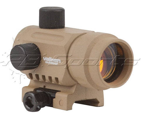 Valken Outdoor Mini Red Dot Sight RDA20 - TAN T1 Style Replica CQB Airsoft Sight - Valken Paintball