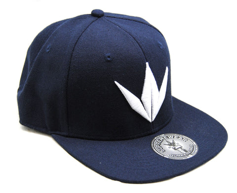 Bunker Kings Crown Adjustable Snapback Hat Navy Blue/White - One Size Fits Most - Bunker Kings