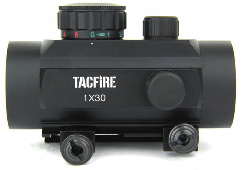 TACFIRE 1x30 Dual Illuminated Red Green Tri-Dot Reticle Weaver Base
