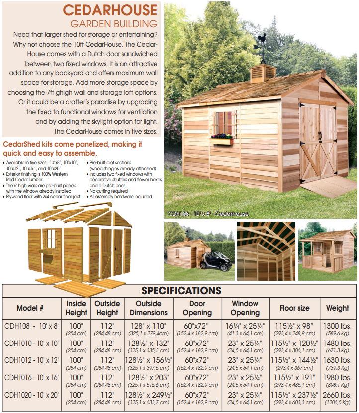 Cedarshed Cedar House Storage Shed