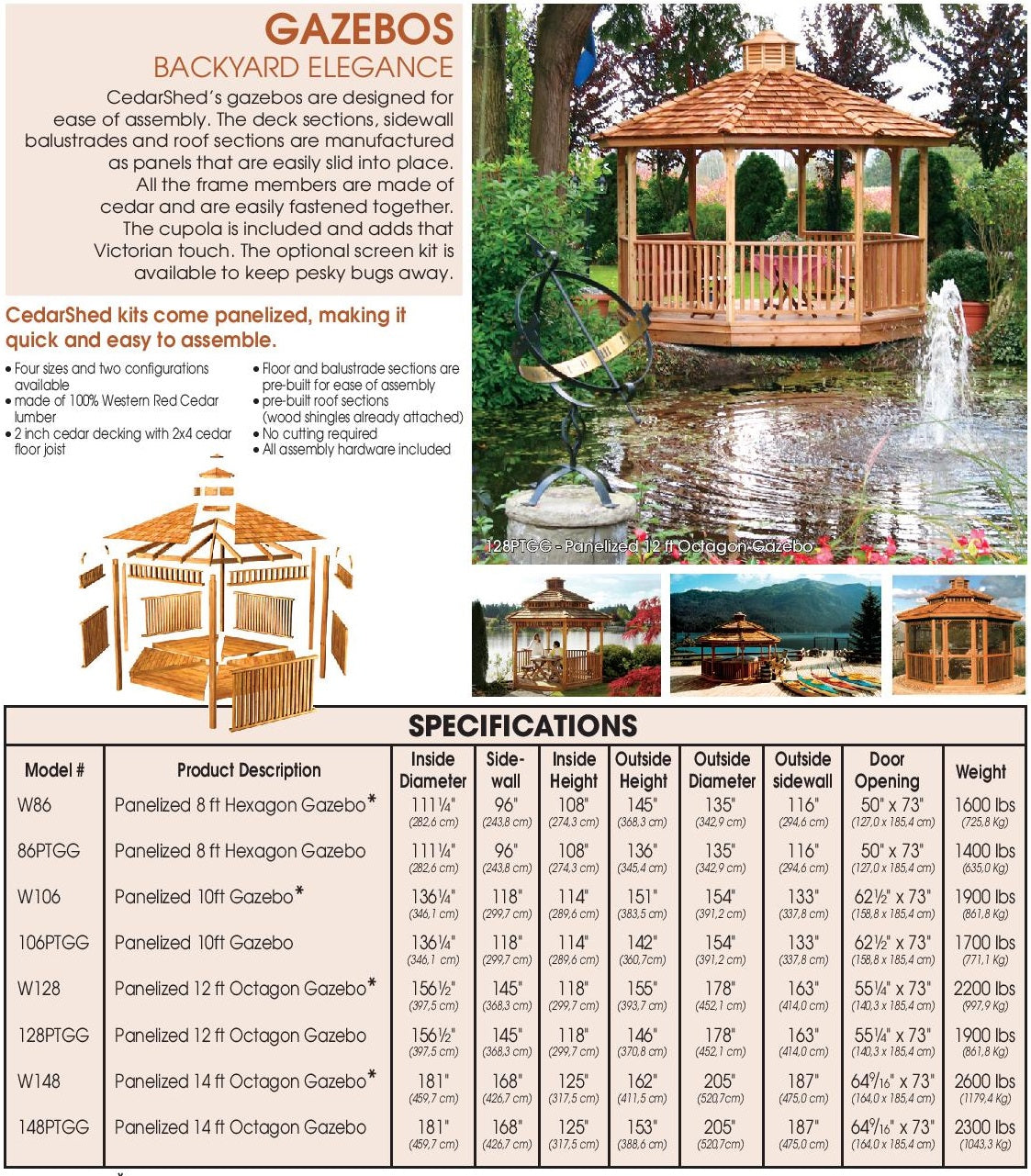 Cedarshed All Season Gazebo Kits