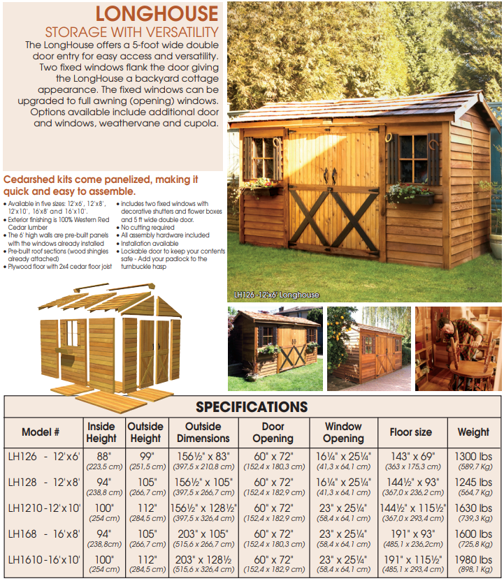 Cedarshed Gable Style Longhouse Backyard Double Door Cottage Shed Kit