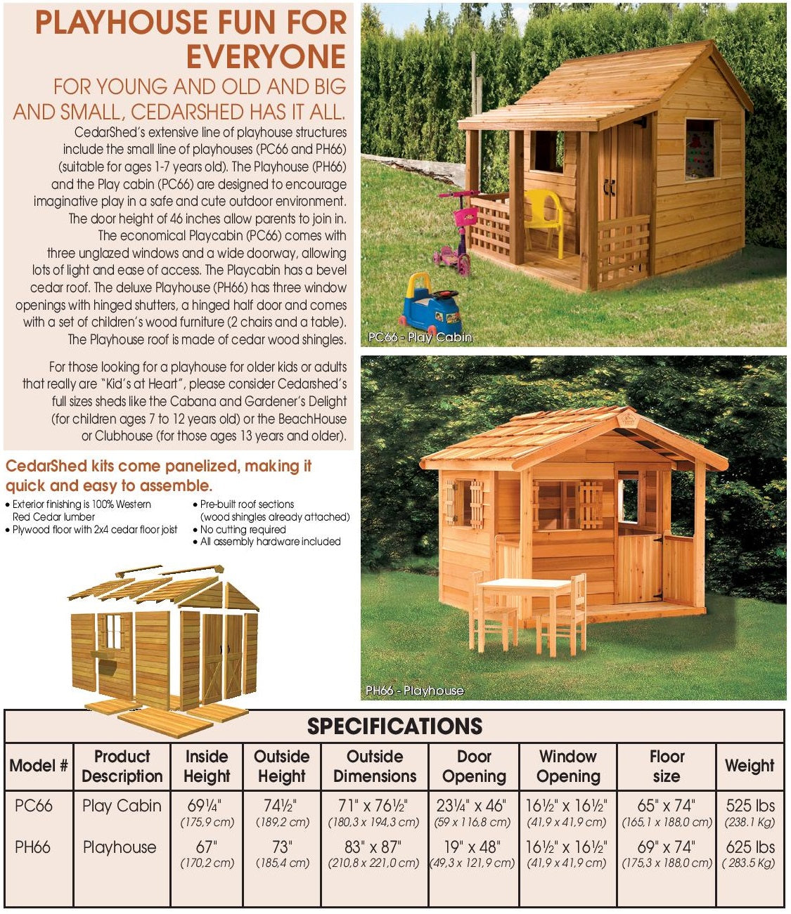 Cedarshed Playhouse Kits