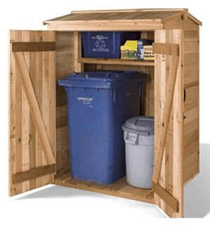 Cedarshed DIY 4x4 Green Pod Wooden Garbage Can & Recycling Bin Shed Kits