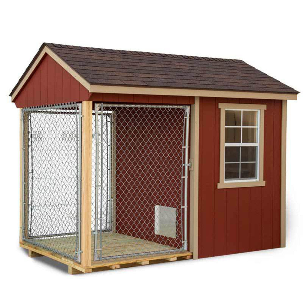 Ez fit sheds 6 39 x10 39 indoor outdoor dog kennel for large for Dog kennel greenhouse