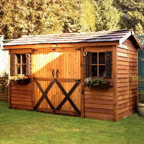 Cedarshed Gable Style Longhouse Backyard  Double Door Cottage Shed