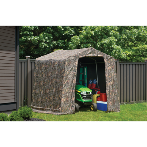 "ShelterLogic 8×8×8 Peak Style Storage Shed, 1-3/8"" Frame, Camouflage Cover"
