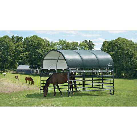 "ShelterLogic 12x12 Corral Shelter Powder Coated 1-3/8"" Steel Frame, 7.5 oz Green PE"