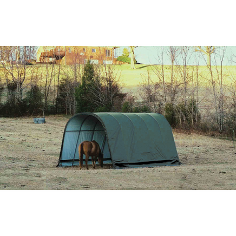 ShelterLogic 12x20x10 Round Style Run-In Shelter with Green Cover