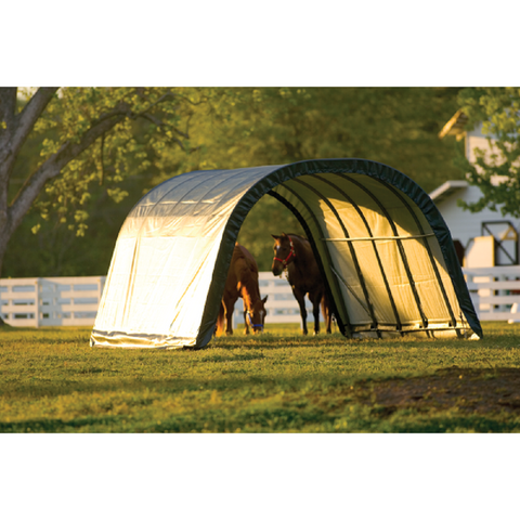 ShelterLogic 12x20x8 Round Style Run-In Shelter in Green