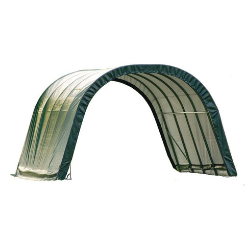 ShelterLogic 12x20x8 Round Style Run-In Shelter, Green Cover