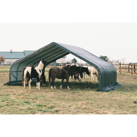 ShelterLogic 22x20x10 Peak Style Run-In/Hay-Storage Shelter with Green Cover
