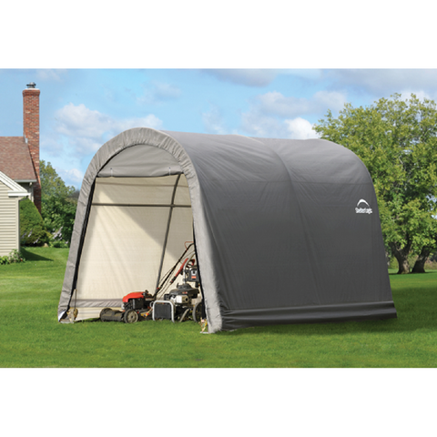 ShelterLogic 10'x10'x8' Round Top Style Storage Shed with Grey Cover