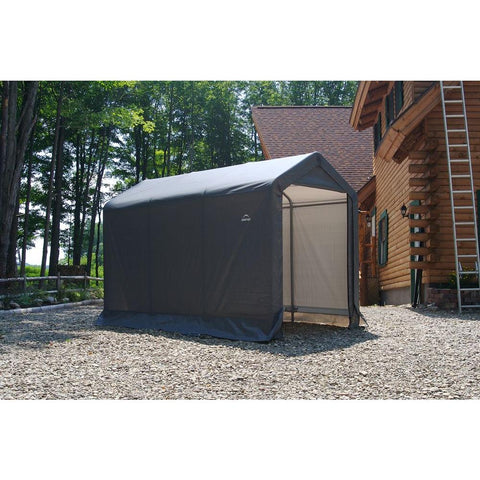 "ShelterLogic 6×10×6'6"" Peak Style Storage Shed, 1-3/8"" Frame, Grey Cover"