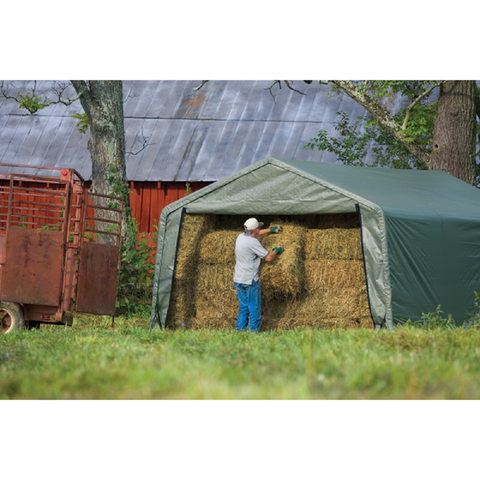 ShelterLogic 12x20x8 Peak Style Hay Storage Shelter in Green