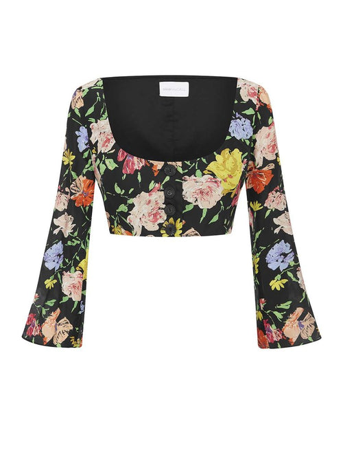 ALICE MCCALL PICASSO TOP-  BLACK PAINTED FLORAL