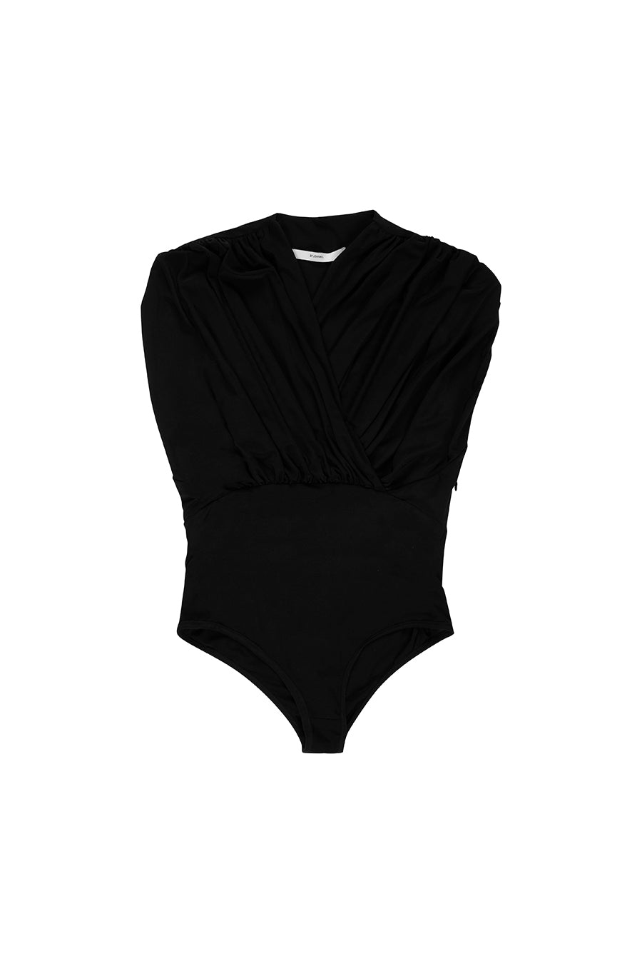 BY JOHNNY GATHERED V BODY SUIT - BLACK