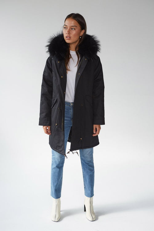 FRIENDS WITH FRANK THE ASHTON PARKA - BLACK