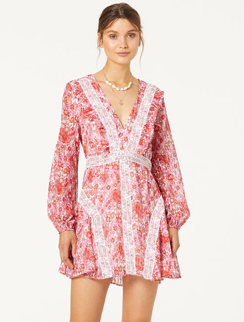 STEVIE MAY CIRCLES L/S MINI DRESS