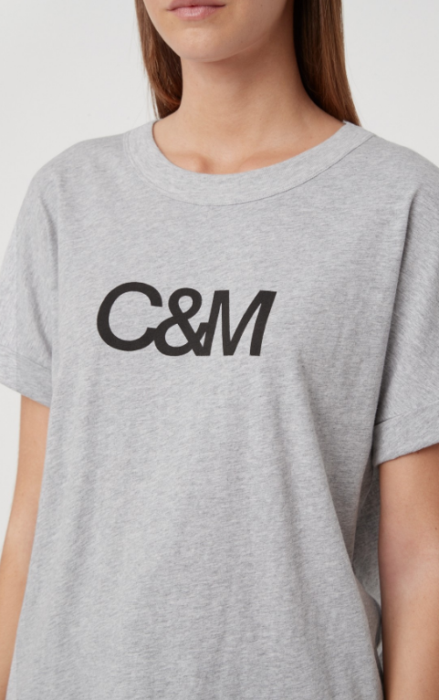 C&M NEW HUNTINGTON LOGO SLUB TEE - GREY MARLE