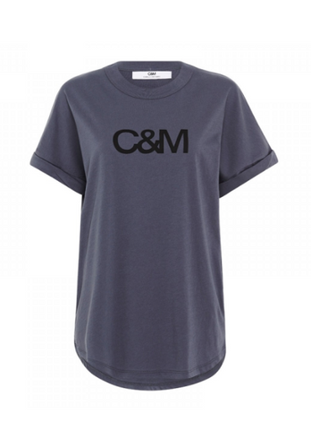 C&M NEW HUNTINGTON LOGO SLUB TEE - BLACK