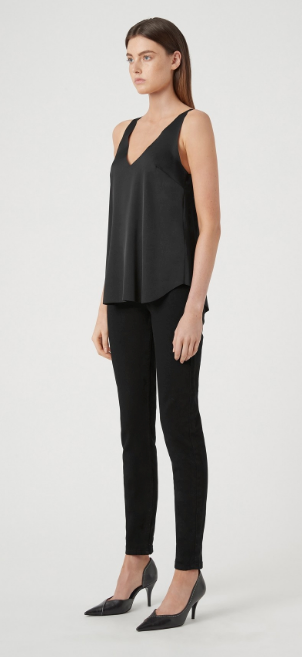 CAMILLA AND MARC CELOSIA DEEP V NEK TANK - JET BLACK