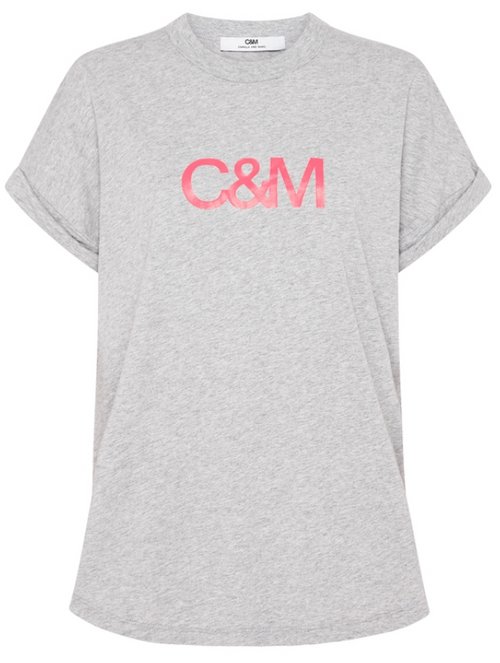 C&M NEW HUNTINGTON LOGO SLUB TEE - GREY WITH PINK