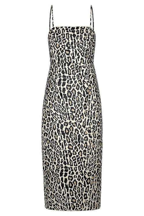 SHONA JOY ZIGGY FITTED MIDI DRESS - LEOPARD MULTI