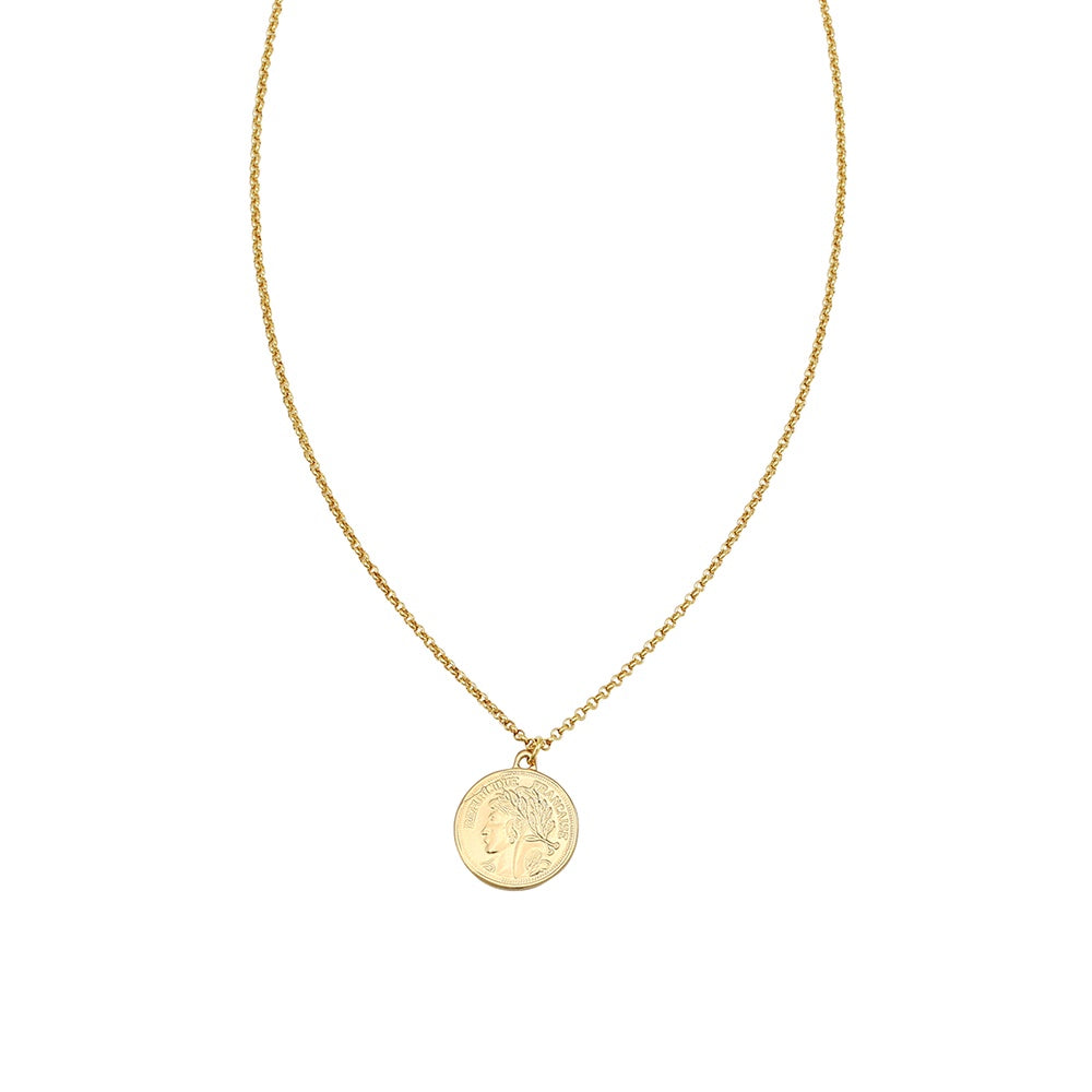 JOLIE AND DEEN REPUBLIQUE COIN NECKLACE - GOLD