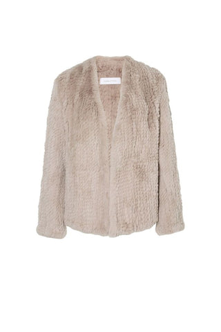 ENA PELLY CURLY BOMBER JACKET - DUSTY PINK