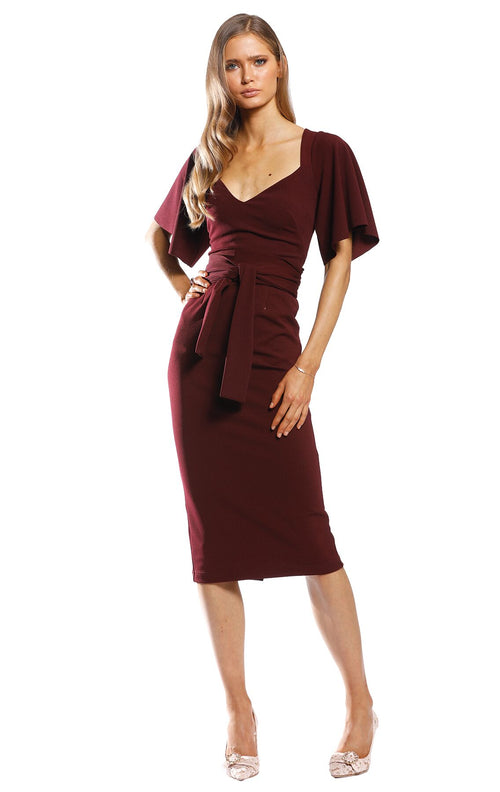 PASDUCHAS MANOR MIDI DRESS - WINE