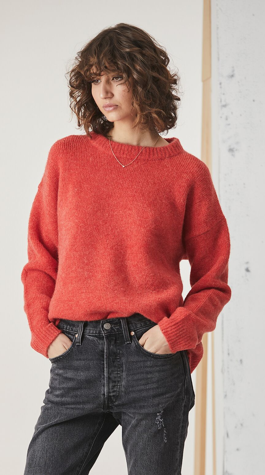 ENA PELLY MOHAIR BLEND KNIT - CORAL
