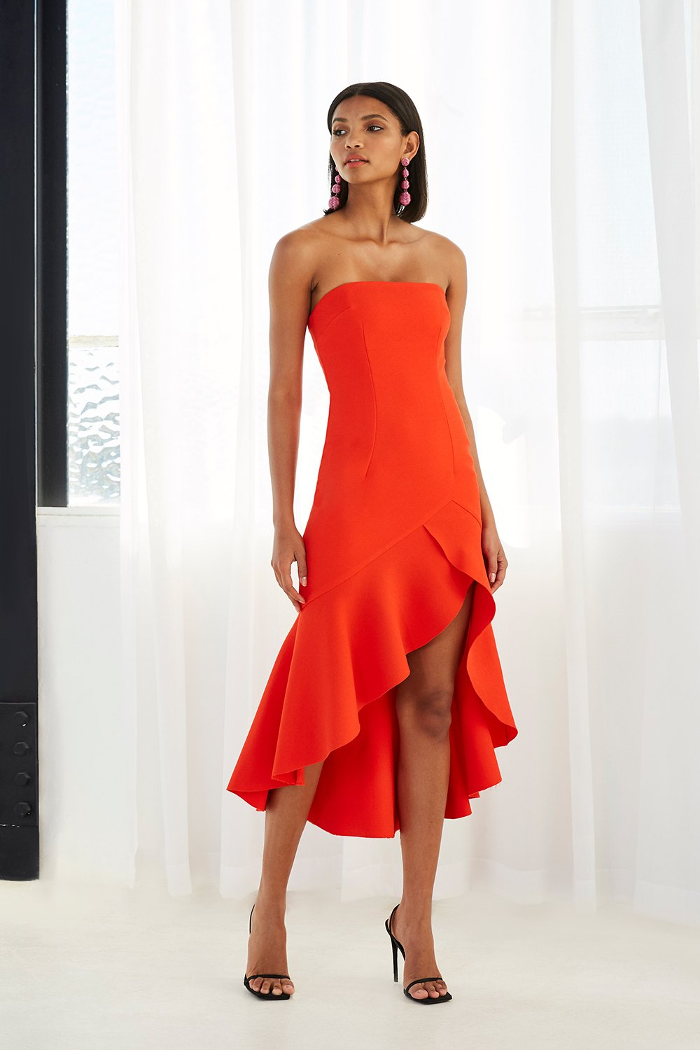 BY JOHNNY STRAPLESS TULIP FRILL GOWN