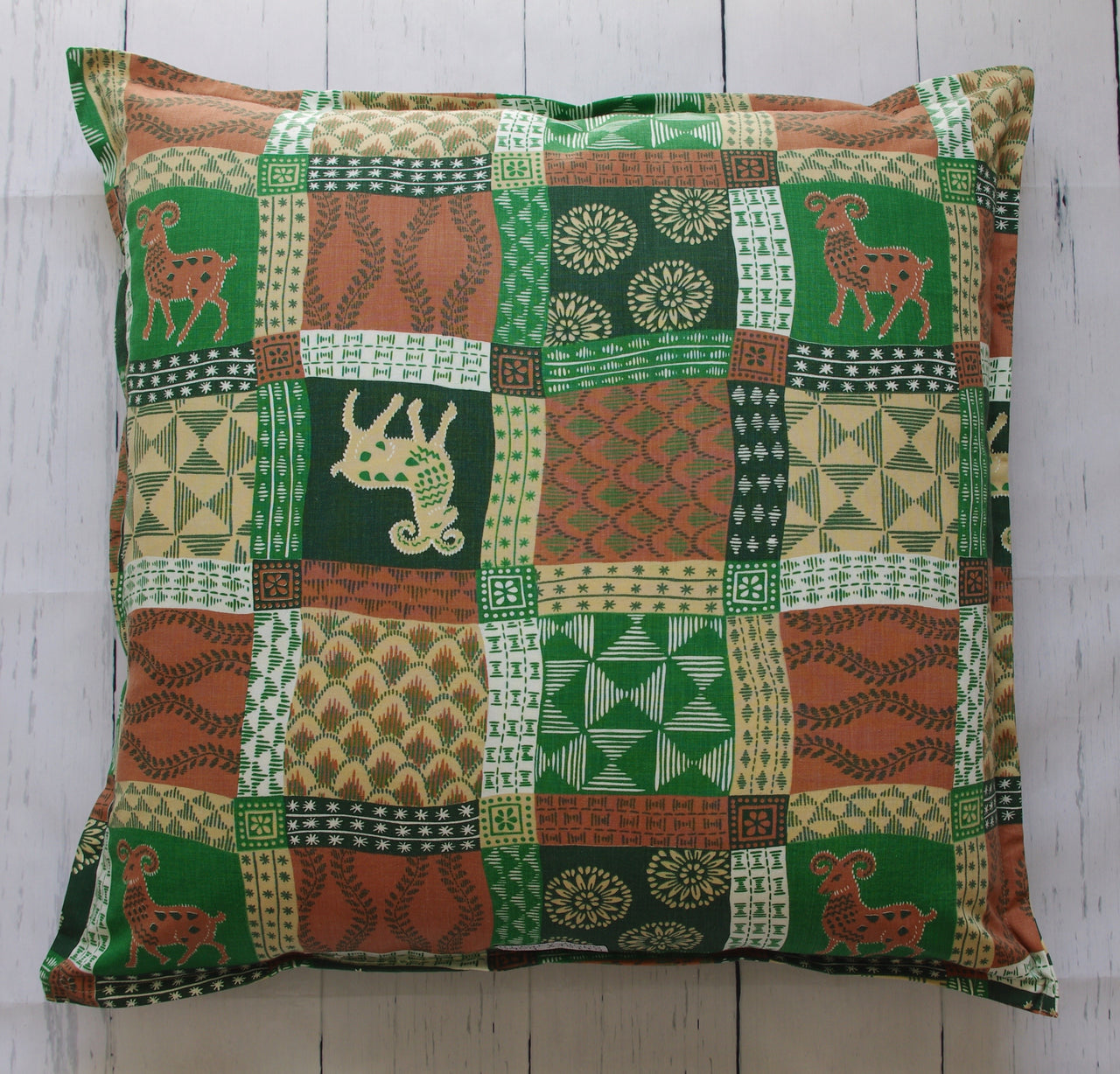 eco-friendly-sustainable-repurposed-handmade-home-decor-floor-pillow-boho-folky-goat-printed-floor-pillow-front