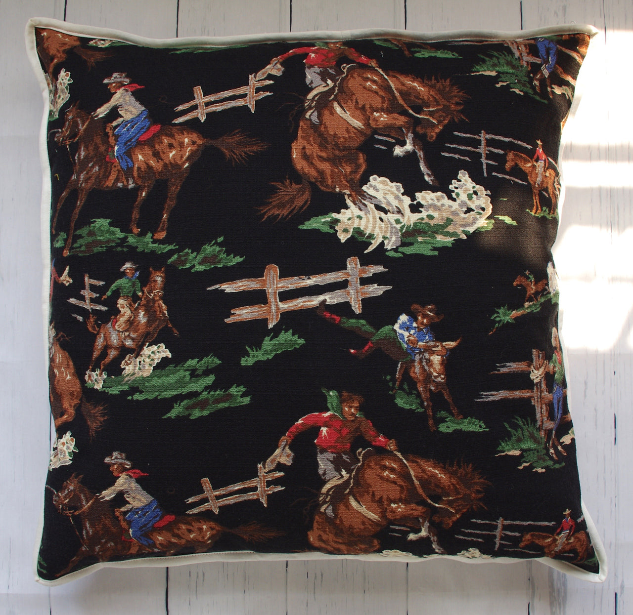 bucking-bronco-square-floor-pillow-front