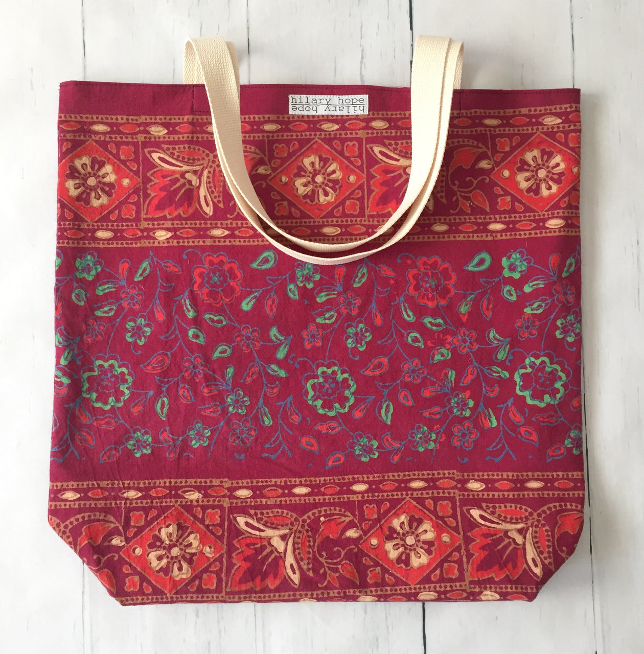 burgundy-batik-cotton-strap-tote-bag-front