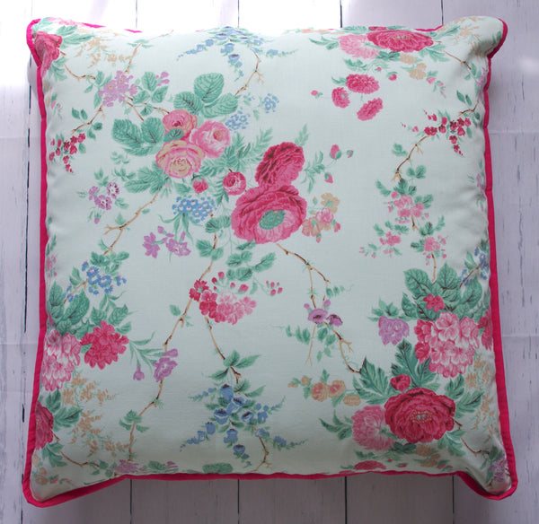eco-friendly-sustainable-repurposed-handmade-home-decor-floor-pillow-green-floral-pop-of-pink-floor-pillow-front