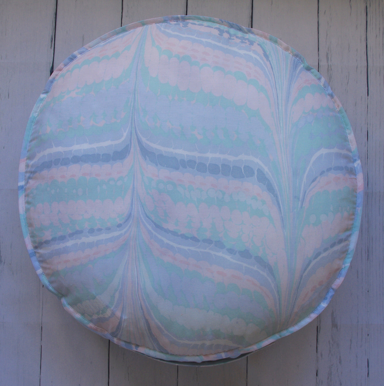 eco-friendly-sustainable-repurposed-handmade-floor-pillow-hilary-hope-round-floor-pouf-miami-marble-front