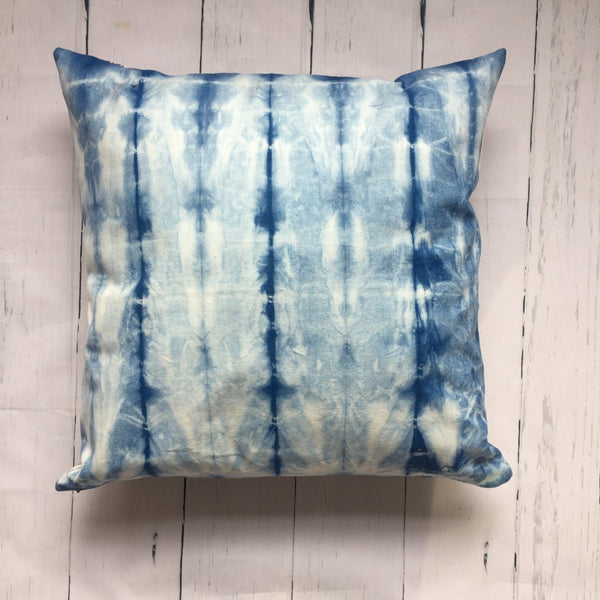 "20"" Indigo Woodgrain Square Pillow"