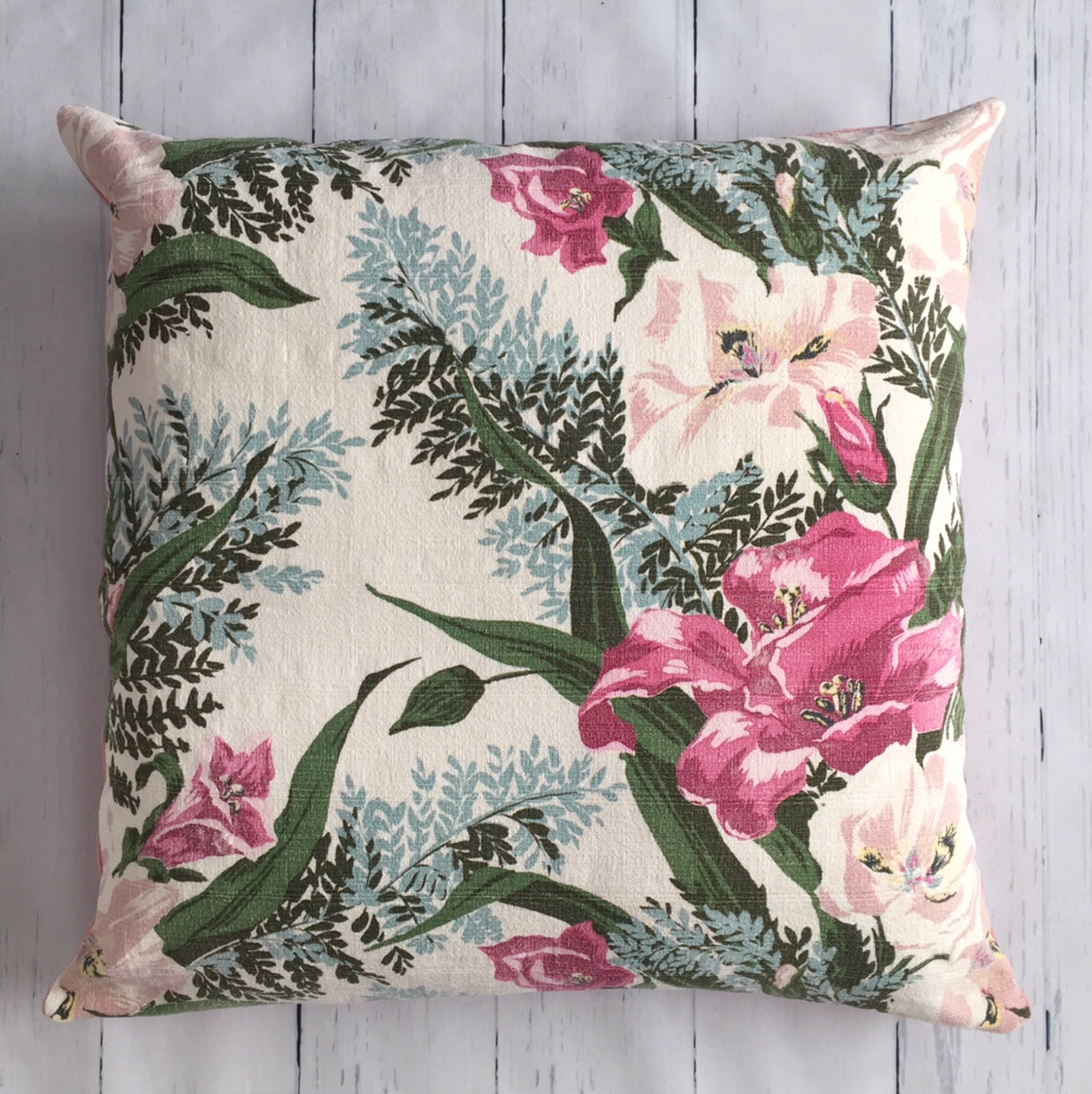 eco-friendly-sustainable-repurposed-handmade-floor-pillow-vintage-floral-fern-square-floor-pillow-front-hilary-hope