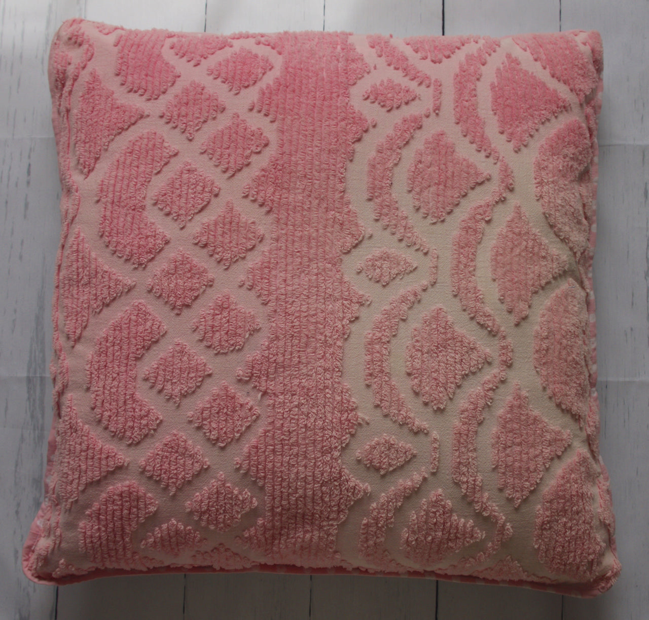 eco-friendly-sustainable-repurposed-handmade-floor-pillow-vintage-pink-chenille-floral-front