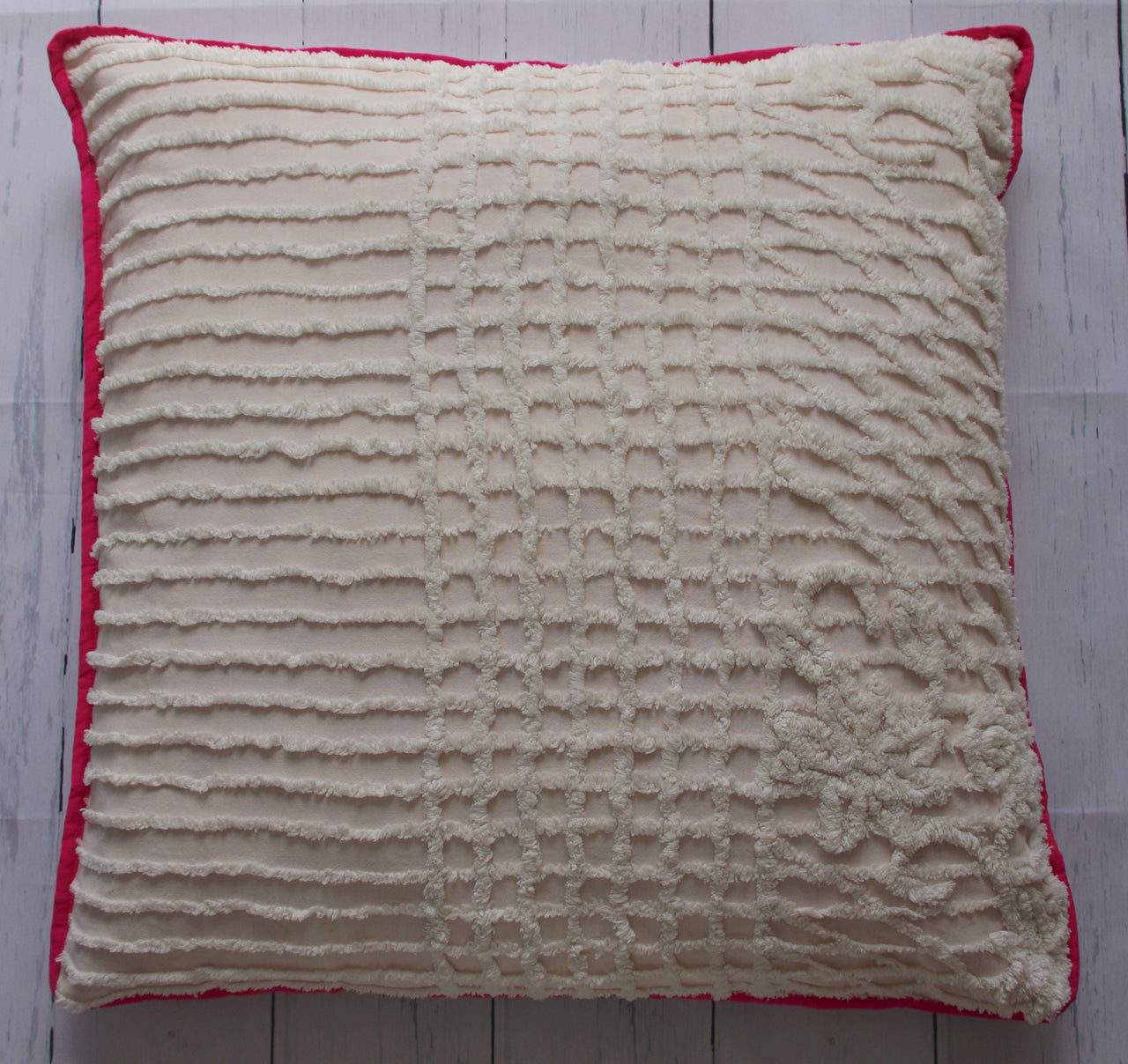 eco-friendly-sustainable-handmade-home-decor-floor-pillow-white-chenille-pop-of-pink-front