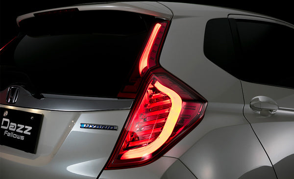 DazzFellows Honda Jazz LED Tail Lamp (Clear/ Red Chrome)