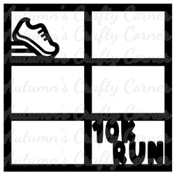10k Run - 6 Frames - Scrapbook Page Overlay Die Cut - Choose a Color