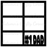 #1 Dad - 6 Frames - Scrapbook Page Overlay Die Cut - Choose a Color