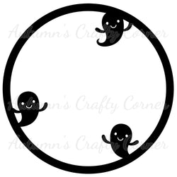 3 Ghosts - Circle - Scrapbook Page Overlay Die Cut - Choose a Color